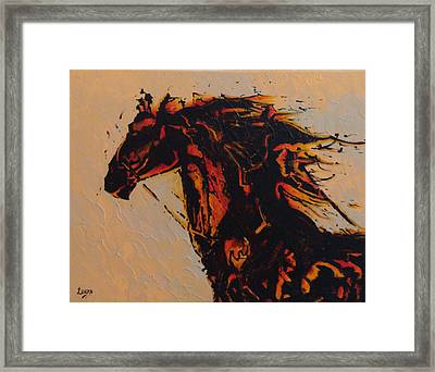 Fire Horse Framed Print by Leena Kewlani