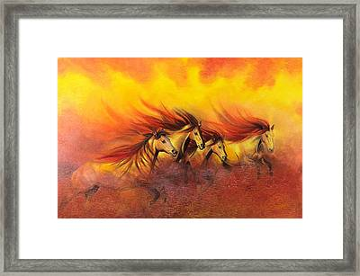Fire Horses Framed Print by Maria Hathaway Spencer