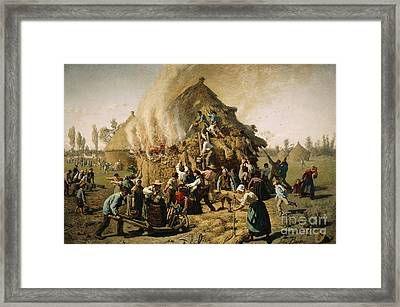Fire In A Haystack, 1856 Framed Print
