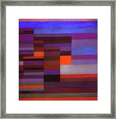 Fire In The Evening Framed Print by Paul Klee
