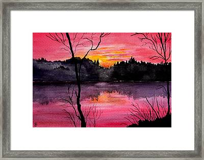 Fire In The Sky    Lake Arrowhead Maine Framed Print