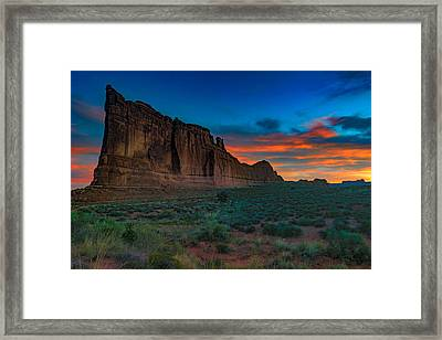 Fire In The Sky At The Tower Of Babel Framed Print by Rick Berk