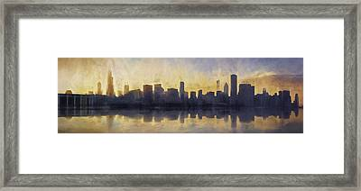 Fire In The Sky Chicago At Sunset Framed Print
