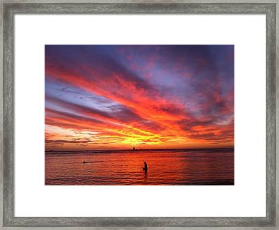 Fire In The Sky Framed Print by Erika Swartzkopf