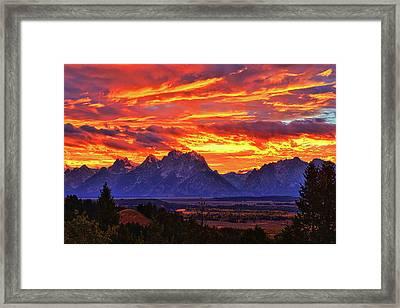 Fire In The Teton Sky Framed Print