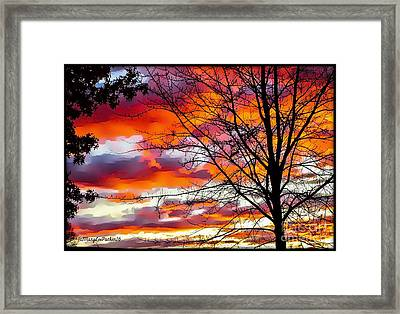 Fire Inthe Sky Framed Print by MaryLee Parker