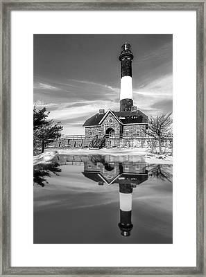 Fire Island Lighthouse Bw Framed Print
