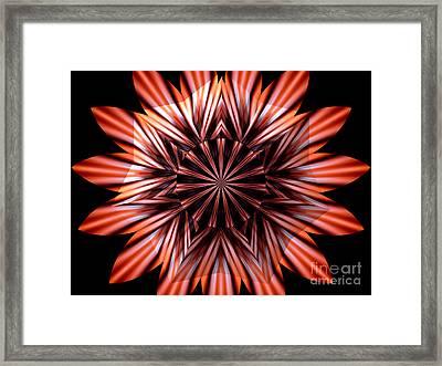 Fire Kaleidoscope Mandala Under Star Shaped Glass Framed Print by Rose Santuci-Sofranko