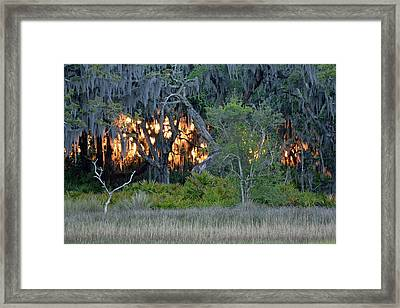 Framed Print featuring the photograph Fire Light Jekyll Island by Bruce Gourley