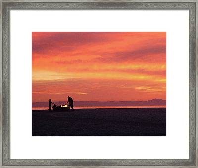 Fire On The Beach Framed Print by Timothy Bulone