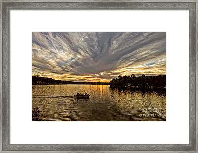 Fire On The Lake Framed Print by Pat Carosone