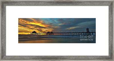Fire On The Sky - Huntington Beach Pier Framed Print by Peter Dang