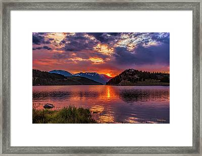 Fire On The Water Reflections Framed Print