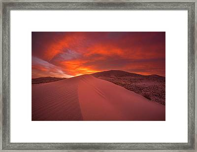 Fire Over Kelso Dunes Framed Print