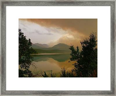 Fire Over St Mary Lake Framed Print