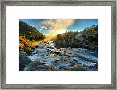 Fire Over Swiftcurrent Falls Framed Print