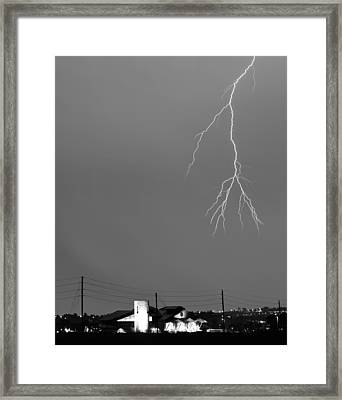 Fire Rescue Station 67  Lightning Thunderstorm 2c Bw Framed Print