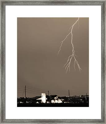 Fire Rescue Station 67  Lightning Thunderstorm 2c Bw Sepia Framed Print by James BO  Insogna