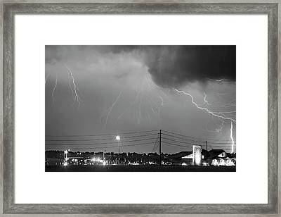 Fire Rescue Station 67  Lightning Thunderstorm Black And White Framed Print by James BO  Insogna