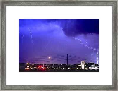 Fire Rescue Station 67  Lightning Thunderstorm Framed Print