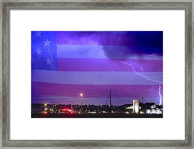 Fire Rescue Station 67  Lightning Thunderstorm With Usa Flag Framed Print