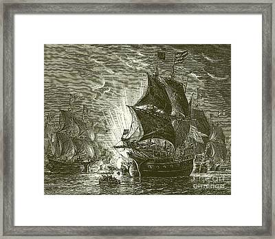 Fire Ships Attacking The Spanish Armada Framed Print by English School