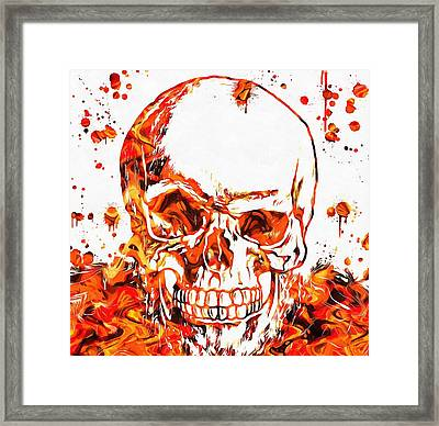 Fire Skull Framed Print by Dan Sproul