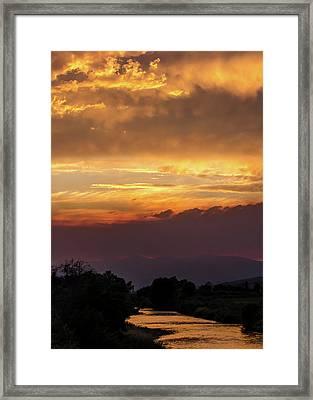 Fire Sky At Sunset Framed Print