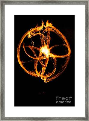 Fire Spinning Framed Print by Darcy Evans