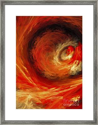 Fire Storm Abstract Framed Print by Andee Design