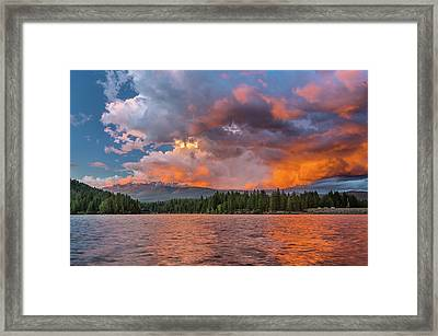 Fire Sunset Over Shasta Framed Print by Greg Nyquist