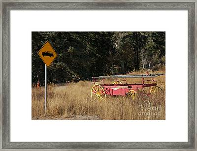 Fire Truck Crossing Framed Print by David Pettit