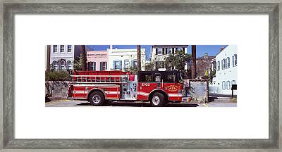 Fire Truck On The Road, Charleston Framed Print