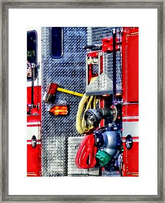 Fire Truck With Hoses And Ax Framed Print by Susan Savad