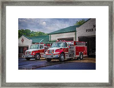 Fire Trucks Framed Print by Debra and Dave Vanderlaan