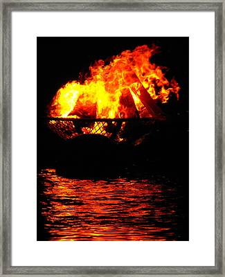 Fire Water Illuminates The Night Framed Print