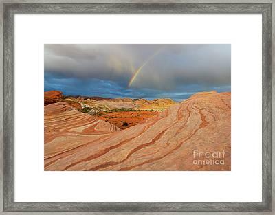 Fire Wave Rainbow Dawn Framed Print by Mike Dawson