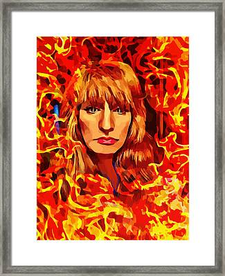 Fire Woman Abstract Fantasy Art Framed Print