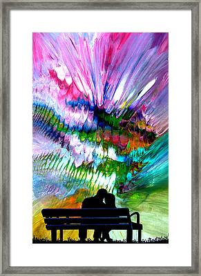 Fire Works In The Park Framed Print