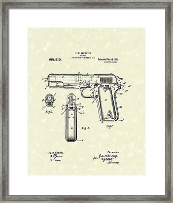 Firearm 1911 Patent Art Framed Print by Prior Art Design