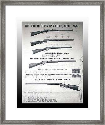 Firearms Marlin Repeating Rifle Model 1889 Poster Framed Print by Thomas Woolworth