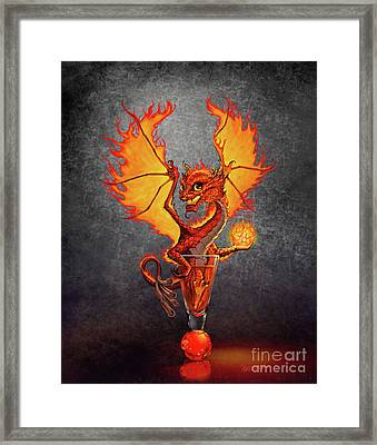 Framed Print featuring the digital art Fireball Dragon by Stanley Morrison