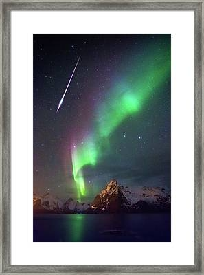 Fireball In The Aurora Framed Print by Alex Conu