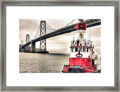 Fireboat And Bay Bridge Hdr Framed Print