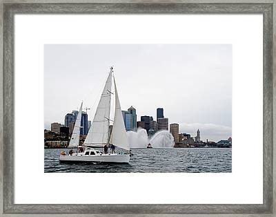 Fireboat Sail By Framed Print by Tom Dowd