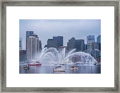 Fireboats On Boston Harbor Tall Ship Parade Boston Ma Framed Print