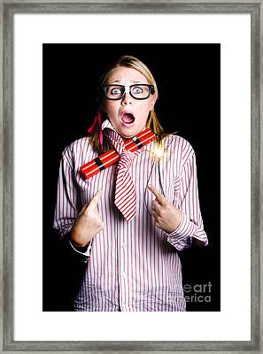 Fired Business Woman In Dynamite Fright Framed Print