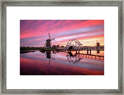 Fired Sky Kinderdijk Framed Print