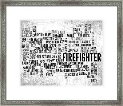 Firefighter 1 Word Typography Framed Print