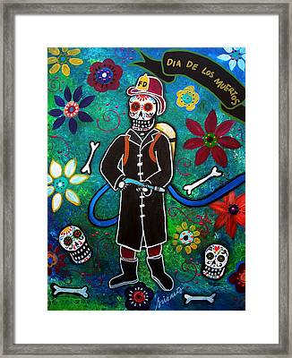 Firefighter Day Of The Dead Framed Print by Pristine Cartera Turkus